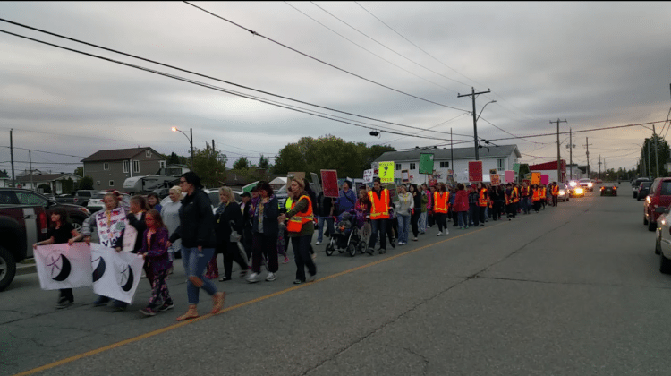 Photo: Last year's Take Back the Night march in Timmins. Supplied by Taylor Ablett.