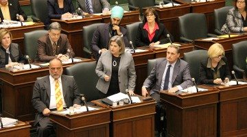 Photo: Gilles Bisson and Andrea Horwath in the legislature. Supplied.