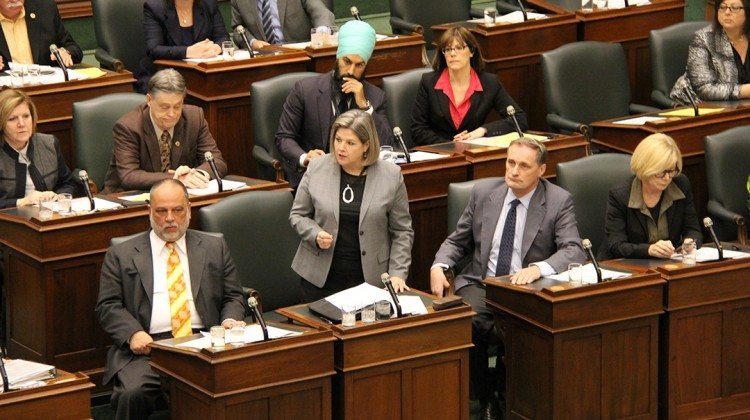 Photo: Andrea Horwath in the legislature. Supplied.