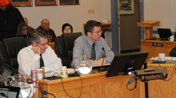 Photo: City Engineer Luc Duval and Project Manager Ryan Ashford update council on the project. Supplied by Taylor Ablett.