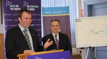 Photo: Mayor Steve Black and Minister Michael Gravelle make the $3M investment announcement. Supplied by Taylor Ablett.
