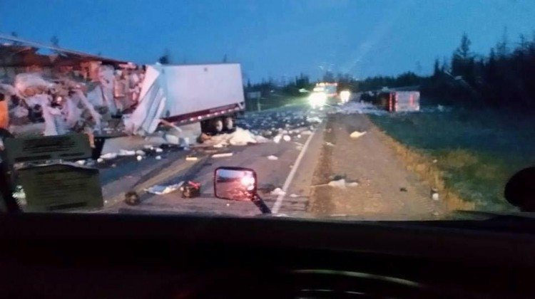 Photo: The tractor trailer crash near Cochrane. Supplied by Walter Russell.
