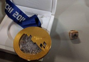 Photo: The Olympic gold medal and ring brought to town by Brianne Jenner. Supplied by Renee Fleury.