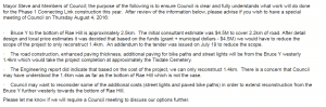 The internal memo sent to council regarding the changes to the scope of work. Supplied by Steve Black.