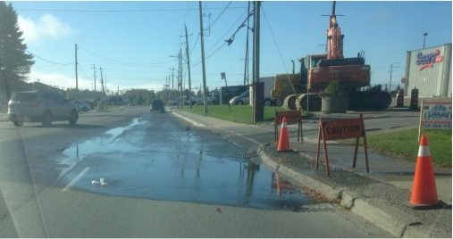 Photo: The leaky water valve at Shirley and Chenier. Supplied by Heather Duhn, City of Timmins.