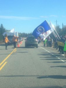Photo: Some of the protesters on Highway 144 this weekend. Supplied by: Will Morin, Moose FM.
